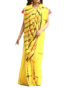 Lemon yellow Cotton Applique Work Saree-yespoho