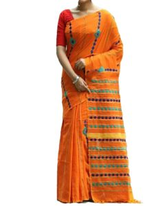 Orange Cotton Applique Work Saree-yespoho