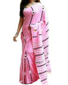 Baby Pink Cotton Applique Work Saree-yespoho