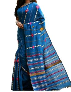 Navy Blue Cotton Applique Work Saree-yespoho