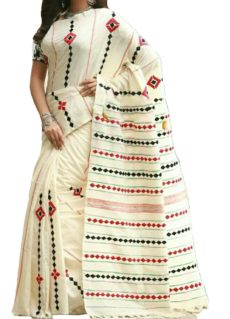 White Cotton Applique Work Saree-yespoho