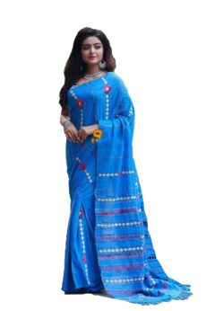 Sky Blue Cotton Applique Work Saree-yespoho