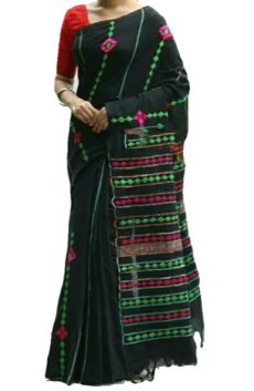 Black Cotton  Applique Work Saree-yespoho