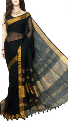 Black Plain Bengal Linen saree-yespoho