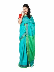 Sky Blue And Light Green Plain Bengal Linen saree-yespoho