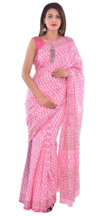 Pink Cotton Hand Block Print Saree-yespoho