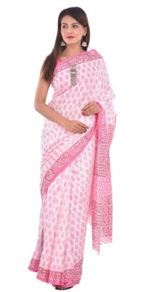 White Cotton And Pink Hand Block Print Saree-yespoho