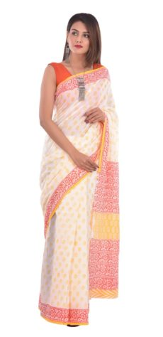 White Cotton And Light Yellow  Hand Block Print Saree-yespoho