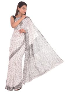 White And Grey Cotton Hand Block Print Saree-yespoho