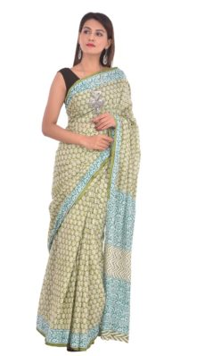 Bright Green Cotton Hand Block Print Saree-yespoho
