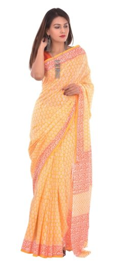 Yellow Cotton Hand Block Print Saree-yespoho