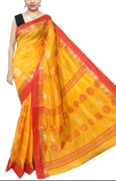 Golden Yellow Garad Matka Silk Saree-yespoho