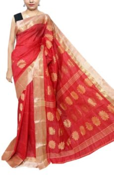 Red Garad Matka Silk Saree-yespoho
