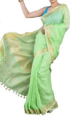 Light Green Plain Patterned Linen Saree With Golden Border-yespoho