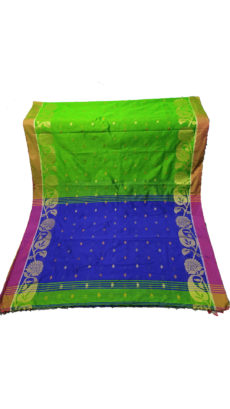 Green & Royal Blue Jacquard Weave Jamdani Silk Cotton Saree-yespoho