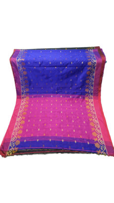 Royal Blue & Rani Jacquard Weave Jamdani Silk Cotton Saree-yespoho