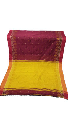 Maroon & Mustard Yellow Jacquard Weave Jamdani Silk Cotton Saree-yespoho