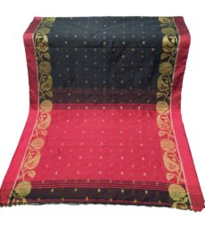 Black & red jacquard weave jamdani saree-yespoho