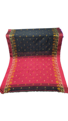 Black & Dark Red Jacquard Weave Jamdani Silk Cotton Saree-yespoho