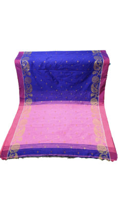 Navy Blue & Baby Pink Jacquard Weave Jamdani Silk Cotton Saree-yespoho