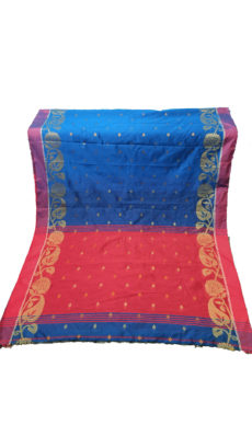 Royal Blue & Red Jacquard Weave Jamdani Silk Cotton Saree-yespoho