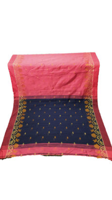Pink & Navy Blue Jacquard Weave Jamdani Silk Cotton Saree-yespoho