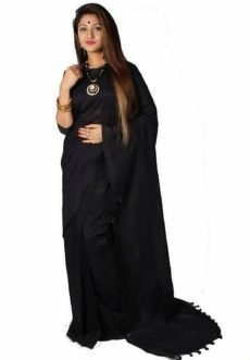 Black plain Hand Woven Khadi Cotton Saree-yespoho