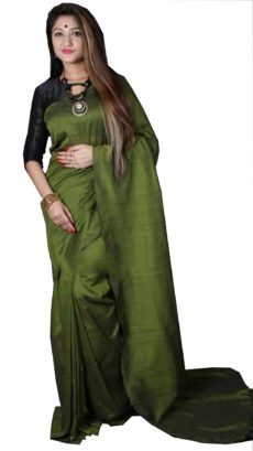 Dark Green Plain Hand Woven Khadi Cotton Saree-yespoho