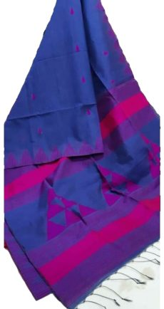 Dark Royal Blue And Pink Silk Khadi Jamdani Temple Motif Designer Saree-yespoho