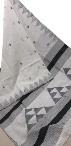 White And Black Silk Khadi Jamdani Temple Motif Designer Saree-yespoho
