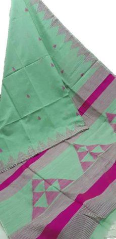 Light Green And Pink Silk Khadi Jamdani Temple Motif Designer Saree-yespoho