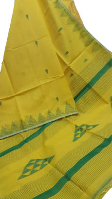 Lemon Yellow And Green Silk Khadi Jamdani Temple Motif Designer Saree-yespoho