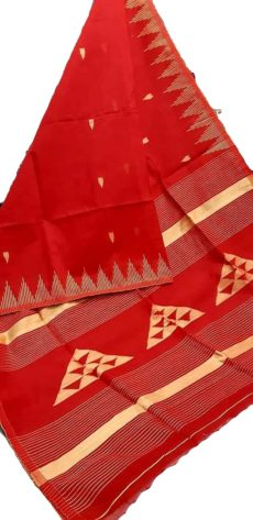 Bright Red Silk Khadi Jamdani Temple Motif  Designer Saree-yespoho