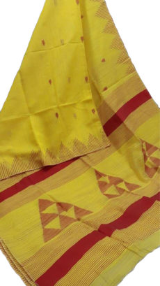 Lemon Yellow  Silk Khadi Jamdani Temple Motif Designer Saree-yespoho