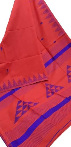 Bright Orange And Royal Blue Silk Khadi Jamdani Temple Motif Designer Saree-yespoho