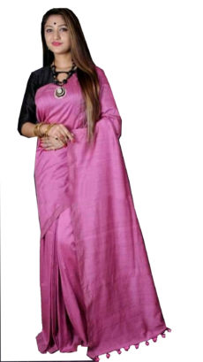 Light Pink Plain Hand Woven Khadi Cotton Saree-yespoho