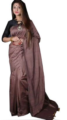 Black Grey Plain Hand Woven Khadi Cotton Saree-yespoho