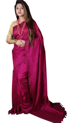 Pink Plain Hand Woven Khadi Cotton Saree-yespoho