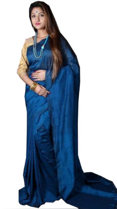 Royal Blue Plain Hand Woven Khadi Cotton Saree-yespoho
