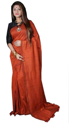 Orange Plain Hand Woven Khadi Cotton Saree-yespoho