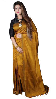 Mustard Yellow  Plain Hand Woven Khadi Cotton Saree-yespoho