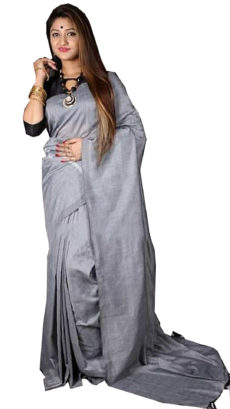 Grey Plain Hand Woven Khadi Cotton Saree-yespoho