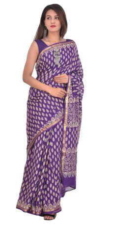 Purple Cotton Zari Border Saree-yespoho