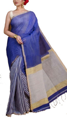 Royal Blue  Half And Half Striped Silk Cotton Saree-yespoho