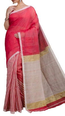 Light Red Half And Half Striped Silk Cotton Saree-yespoho