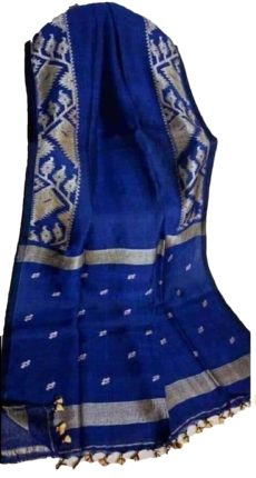 Royal Blue Linen Dhakai Jamdani Saree-yespoho