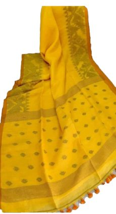 Bright Yellow Linen Dhakai Jamdani Saree-yespoho