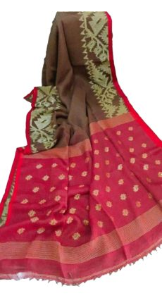 Brown & Red Linen Dhakai Jamdani Saree-yespoho