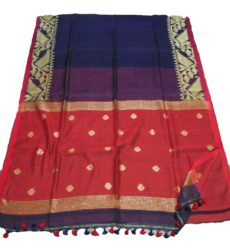 Navy Blue & Red Linen Dhakai Jamdani Saree-yespoho