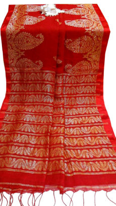 Bright Orange & Brigt Red Dhakai Lehina Jamdani Leaf Motif Zatika-yespoho